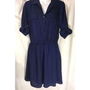 Bebop Dress Size M Blue Adjustable Sleeve